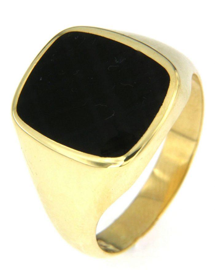 Gouden zegelring met zwart onyx bij Juweliershuis Verbree